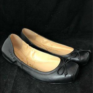 Jessica Simpson blk lthr square toe ballet flats 8